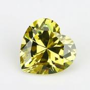 50PCS Size 3x3~12x12mm AAAAA Olive Yellow Heart Shape Europe Machine Cut Loose Cubic Zirconia CZ Stone For Jewellery Diy