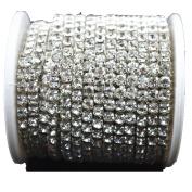 10 Yard 3.5mm Crystal Rhinestone Close Chain Clear Trim Sewing Craft Silver colour
