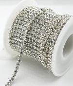 10 Yard Crystal Rhinestone Close Chain Clear Trim Sewing Craft Silver colour