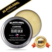 Black Label Premium Beard Balm Handmade in USA Campfire Scented Leave-In Conditioner for Beard Moustache & Face 100% Natural & Organic, Exclusively Made by Texans 60ml