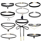 Jooest 11 Pieces Black Velvet Lace and Triangle Chokers Necklaces