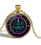 "Gravity Falls Bill Cypher Wheel Scrabble Pendant,Unique Hand Designed Gravity Falls ""Psychadelic"" Bill Cypher Inspired Pendant Necklace Jewellery Gift / Gifts for Men & Women"
