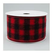 Wired Buffalo Plaid Ribbon, 6.4cm Wide x 10 Yards, Red Black Flannel