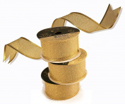 Gold Wired Ribbon 2.5cm - 1.3cm - Wholesale Set of 3 Rolls of 5 Yards - 15 Yards Total