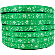 1cm 50yards Christmas Snowflake Pattern Printed Green Grosgrains Ribbons Hairbows Party Craft Supplies