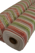 Mesh roll, 50cm x 10 Yards, White with Red and Green metallic stripes