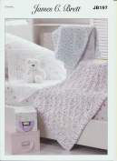 James C. Brett Knitting Pattern Children's Woollen Blankets in Flutterby Chunky Yarn
