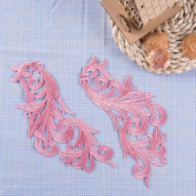 Wholesale Polyester Colourful Embroidered Floral Lace Fabric Applique Patch Leaves 7.1cm Width 22cm Length