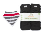 Cloth Nappy Inserts Reusable (12pk) 5-Layer Charcoal Bamboo Liners with Gussets + Bandana Bib
