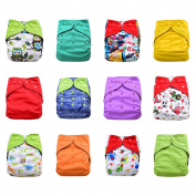 One Size Reusable Charcoal Bamboo Cloth Pocket Nappies, 12-pack Bundle Set + 24 Inserts