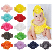 DUOQU Baby Girl's Soft Headbands Hairband With Big Flower Boutique Hair Accessories Multicolor 12 Pcs