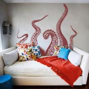 Tentacles Wall Decal Kraken Octopus Tentacles Wall Sticker Sea Animal Wall Decal Mural Home Art Decor Dark Red