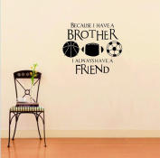 Dnven (Black 50cm w X 60cm h) PVC Wall Stickers Wall Sticker Decal Quote Vinyl Brothers Friends Kid Room Sports Decor Wall Quote Decal