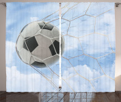 Ambesonne Sports Decor Collection, Soccer Ball in Goal with Cloudy Sky Summertime Outdoor Activities Sporting Image, Living Room Bedroom Curtain 2 Panels Set, 270cm X 210cm , Blue White