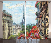 Ambesonne Paris City Decor Collection, Street in Paris Town Traffic Trees Downtown Urban Life Exterior Monument Scene Print, Living Room Bedroom Curtain 2 Panels Set, 270cm X 230cm , Red Green Blue