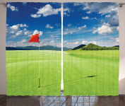 Ambesonne Sports Decor Collection, Golf Field with Flag in the Hole Clouds Sky Summertime Golfing Landscape Picture, Living Room Bedroom Curtain 2 Panels Set, 270cm X 210cm , Green Blue Red