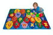 Kids Rug ABC Balloons Area Rug 1.5m x 2.1m Children Area Rug for Playroom & Nursery - Non Skid Gel Backing