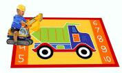 Kids Rug Dump Truck Area Rug 1.5m x 2.1m Children Area Rug for Playroom & Nursery - Non Skid Gel Backing