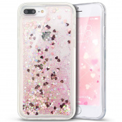 iPhone 7 Plus Case,PHEZEN 3D Creative Luxury Bling Glitter Liquid Case Infused with Glitter Heart Moving Soft TPU Bumper PC Back Hybrid Case For iPhone 7 Plus (2016) 14cm , Pink