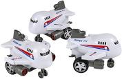 Rev Up And Go Friction 4 White Aeroplane Jumbo Jet Toy Vehicle by Rhode Island Novelty