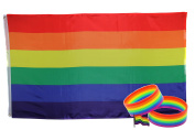Rainbow Flag for Pride Parades and Gay Lesbian LGBT Parties with Rainbow Bracelets and Rainbow Pin