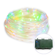 Vmanoo Rope Lights 120 LED Battery Operated String Fairy Christmas Lighting Decor Timer For Outdoor, Indoor, Garden, Patio, Lawn, Holiday, Bedroom Wedding Decorations
