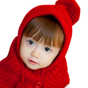 CHIC-CHIC Kids Baby Warm Hood Scarf Caps Earflap Knitted Hat with Pom Pom
