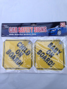 baby and child on board car sign with stay - put suction pads