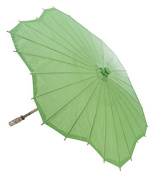 Quasimoon 80cm Grass Green Paper Parasol Umbrella, Scallop Shaped by PaperLanternStore
