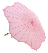 Quasimoon 80cm Pink Paper Parasol Umbrella, Scallop Shaped by PaperLanternStore
