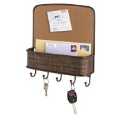 mDesign Cork Board with Mail & Key Organiser for Kitchen, Hallway, Entryway - Wall Mount, Bronze