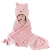 CuteOn Toddler Flannel Baby Blanket | Towelling Robe | Baby Hooded Towel - Pink Bear