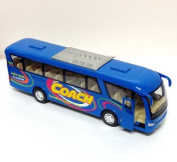 Die Cast Metal 7 Coach Excellent Travel Blue Bus Pull Back Action by KinsFun
