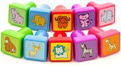InkZoo Stamps for Kids - Best Rubber Self Inking Animal Stamp Set by InkZoo