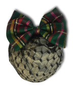 EVENING TARTAN AND GOLD GREENISH HAIR BOW BARRETTE SNOOD