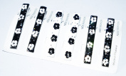 Black And White Flowers Trendy Fashion Spring Loaded Flat End Hair Alligator Clips Barrette