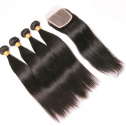 Silkylong Brazilian Hair Weave Bundles With Closure Straight Weave 4 X 4 Free part Unprocessed 4 Bundles Human Hair With Lace Closure