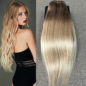 Full Shine 60cm 7 Pieces per Set 140 Gramme Remy Human Hair Clip in Weft Hair Extensions Colour #6 And Colour #613 Blonde Ombre Clip in Colour Hair Extensions