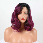 Arimika Short 30cm Ombre Purple Big Curl Heat Safe Synthetic Soft Bouncy Layered Lace Front Wig For Women Decent Parting Space Short 5.1cm - 7.6cm Black Roots Side Part