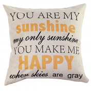 3 Patterns Home Decor Cotton Linen Letter Throw Sofa Pillow Case Car Cushion Cover