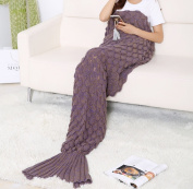 Warm and Soft Mermaid Tail Blanket by AIQI, Handcraft Crochet Snuggle Cosy Fleece Sofa Bed Sleeping Bags, Ideal Gifts for Family Members or Friends