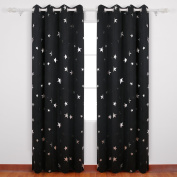 Deconovo Stars Foil Printed Thermal Insulated Ready Made Curtains Eyelet Blackout Curtains for Kids Room 120cm x 180cm Blue One Pair
