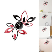 "SZTARA Modern Design Art Wall Stickers 3D Flower Lotus Clock Wall Stickers Decal Decoration Home Office DIY Removeable Stickers Black and Red 36cm×35cm/14.17""×13.78"""
