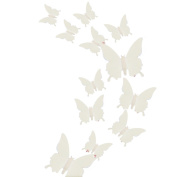 Alxcio 12 Pieces Removable 3d Butterfly Murals Wall Art Stickers Decorations 3d Butterfly Stickers for Home Blue Rose Red Canvas Craft Stickers - Sliver