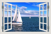 3D Window Scenery Wall Sticker White Sailing Boat Seascape Wallpaper Vinyl Decal 50cm x 70cm