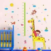 Animals Giraffe Animals Stars Height Measurement Wall Sticker Decal Home Paper PVC Murals House Wallpaper Bedroom Kids Babys Living Room Art Picture Decoration