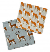 Milk Barn Organic Burp Cloths, 2 Pack, Blue Buck and Orange Fox