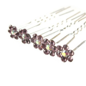 Jewellery of Lords 10 Dusky Purple Colour Crystal AB Flower Wedding Bridal Bride Prom Hair Bobby Pin