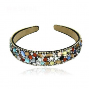 Rainbow crystal rhinestones ribbon fabrics hair accessories hairband headdress headband Item