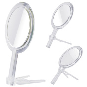 AlierKin Hand Held Makeup Mirror, Double Sides 1x -7x Magnification Handheld Mirrors with Stand for Home, Tabletop